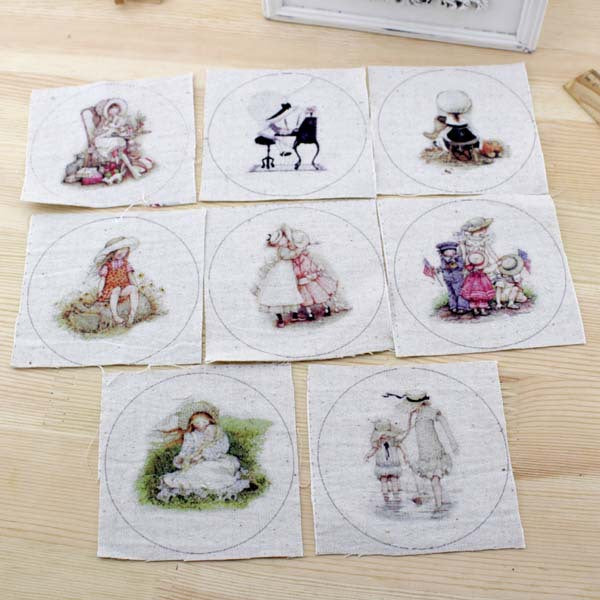 "8pcs Quilt Fabric Patchwork (4"" x 4"") Girl with a Hat Design"