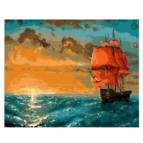 Painting By Numbers Ship Sailing