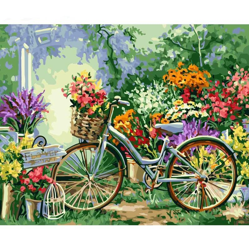 Frame Painting By Numbers Bicycle Flowers