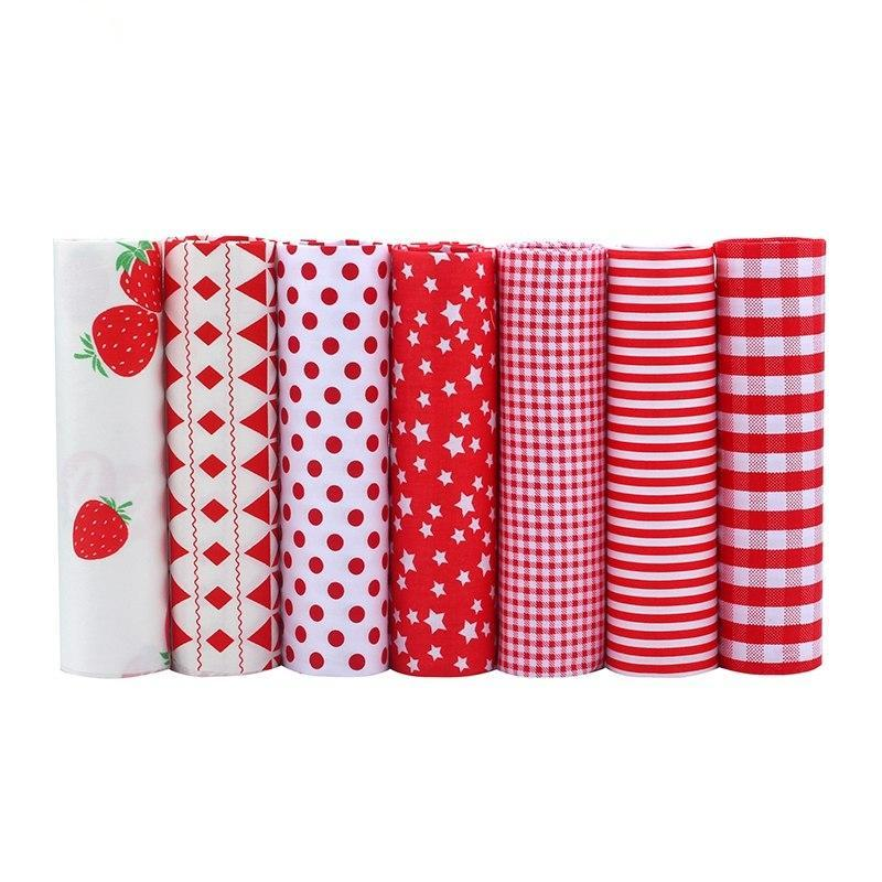 7 Piece Lot Patchwork Fabric (16″X20″) Strawberry Collection
