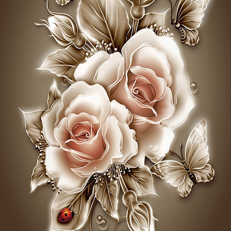 Frameless Crystal Diamond Painting Rose & Butterfly
