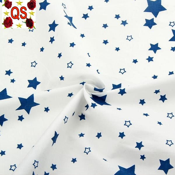 "5 Piece Lot Patchwork Fabric (15"" X 20"") Blue Stars Collection"