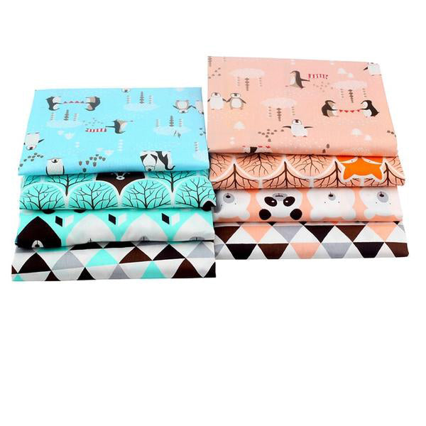 "8pcs Cotton Patchwork Tissue Fabric (16"" x 20"")  Panda and Penguin"
