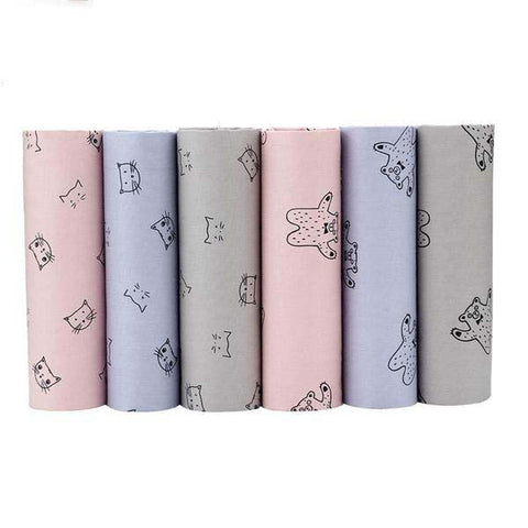 "6 pcs Cotton Fabric (16"" x 20"") Cat and Bear Collection"