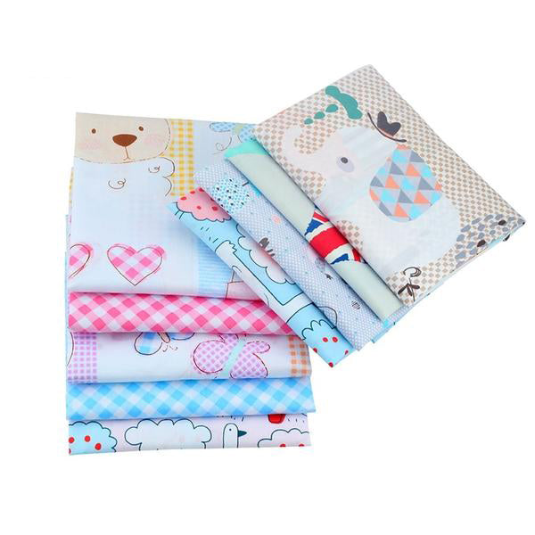 "9 PCS  Patchwork Sewing Fabrics (16"" x 20"" ) Cartoon & Lattice"