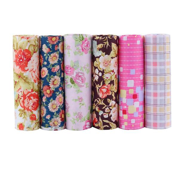 "6 Pcs Cotton Fabric (16"" x 20"") Glamorous Floral Series"