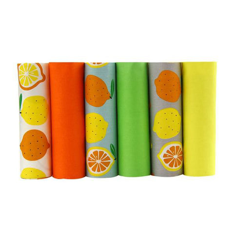 "6 Pcs Twill Cotton Fabric (16"" x 20"") Orange and Lemon Collection"