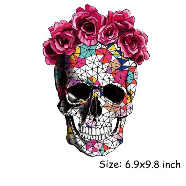 Skull Flower Iron On Patches For Clothing