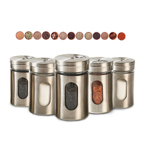 5pcs Stainless Steel Seasoning Spice Condiment Bottless