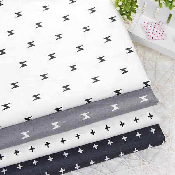 "4 pcs Cotton Fabric (16"" x 20"") Lightning and Cross Series"