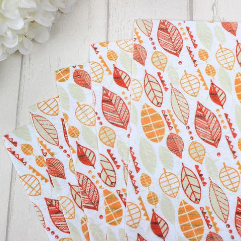 "5 Pcs Non-Woven Fabric (12"" x 8"") Autumn Leaf Collection"