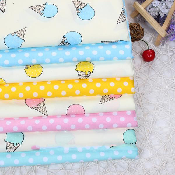 "8 pcs Cotton Fabric (16"" x 20"") Ice cream and Dots Collection"
