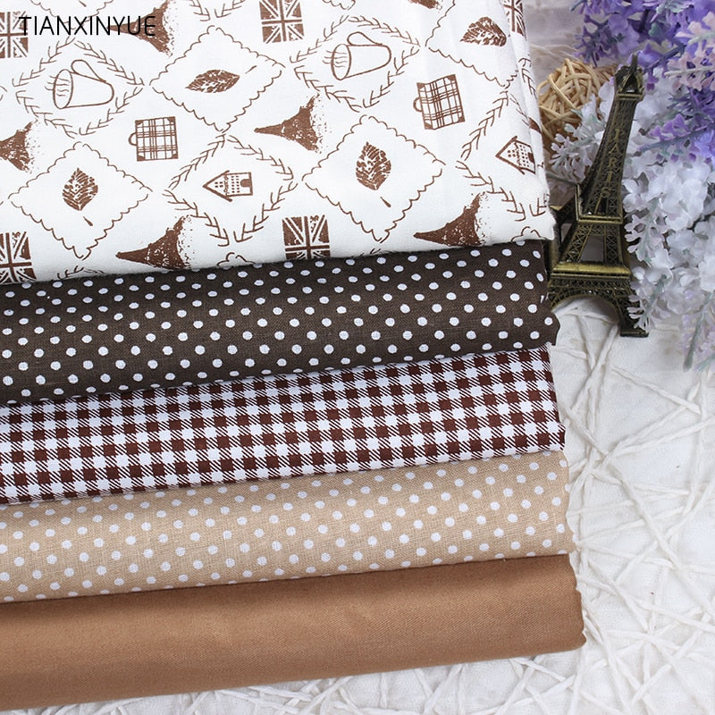 "5pcs Twill Fabric (16"" x 20"")  Coffee Eiffel Manual Cloth"
