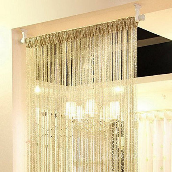 1PC Silver Silk Tassel Window Tube Curtains