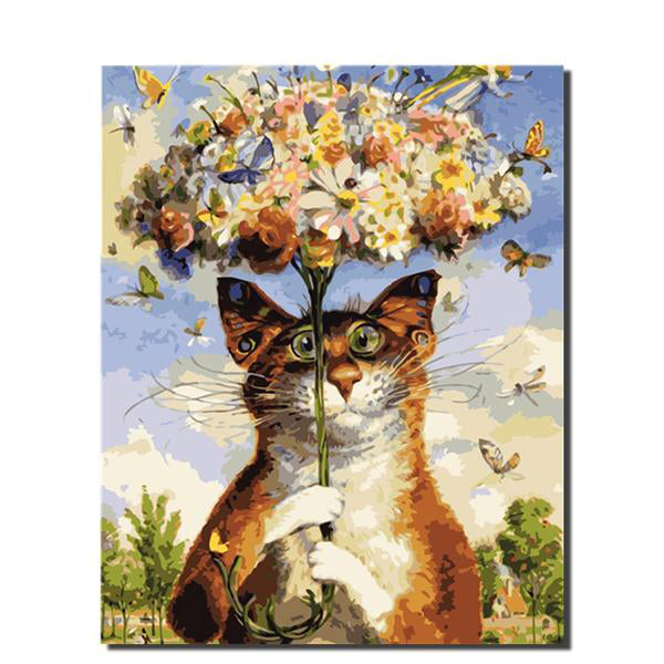 Cat Flower Picture Painting by Numbers