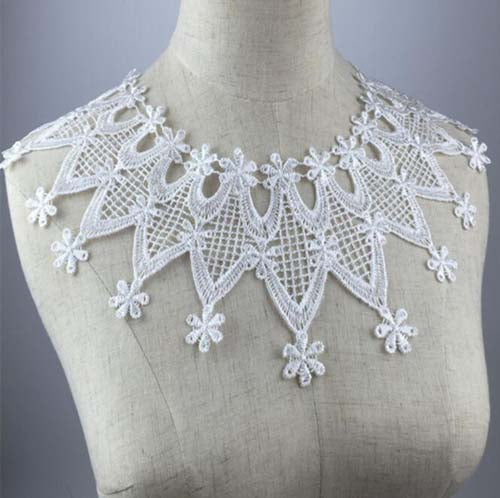 White Collar Venise Sequin Floral Lace Neckline Fabric