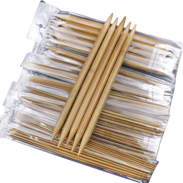 75pcs Bamboo Crochet Hooks Carbonized Double Pointed
