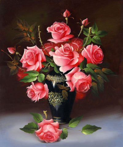 3D Diamond Painting Cross Stitch Red Rose Floral Vase