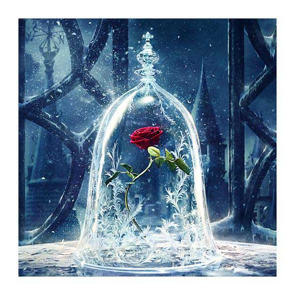 Diamond Painting Red Rose Flower Ice