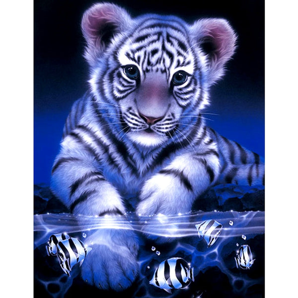 "5D Full Square Diamond Painting ""Tigers & Fish"""