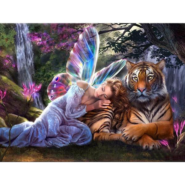 "Full Square Drill 5D Diamond Painting ""Butterfly Fairy Tiger"""