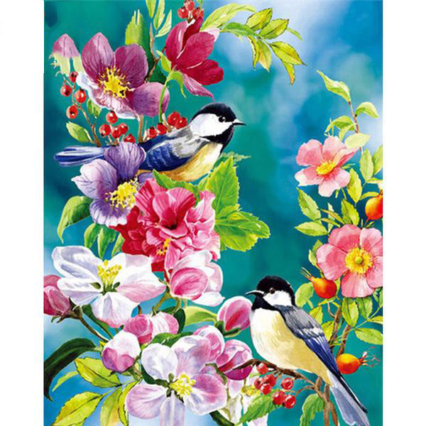 Paintings Coloring by Numbers Flowers Bird