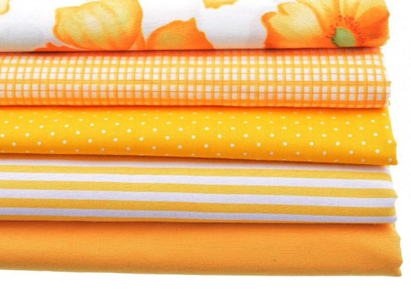 5pcs Yellow Cotton Fabrics