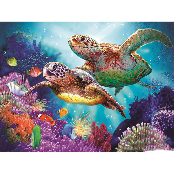 "Full Round Drill 5D Diamond Painting ""Turtle Family"""