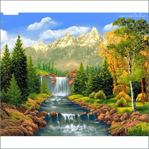 5D Diamont Painting River and Mountain