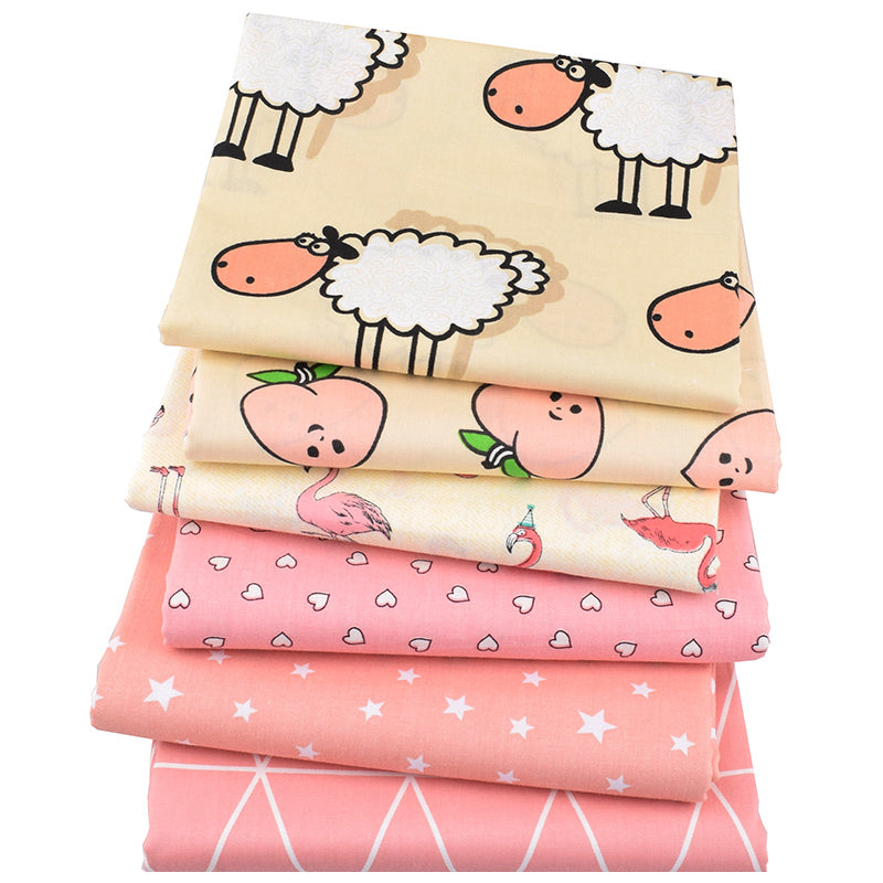 "6pcs Printed Twill Cotton (16"" x 20"") Sheep & Peach Series"