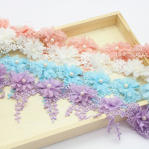 "1Yard 2.7"" Flower Embroidery Lace Fabric Trim Ribbons"