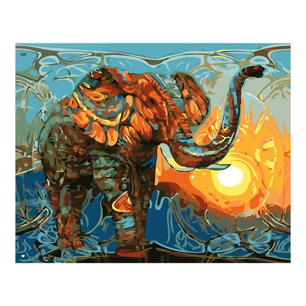 Oil Painting By Number Elephant Acrylic Paint Decor