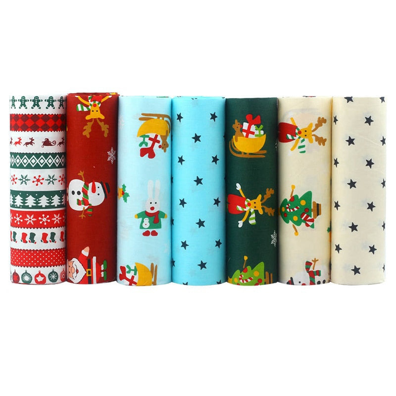 "7 pcs Cotton Fabric (16"" x 20"") Christmas Snowman Star Series"