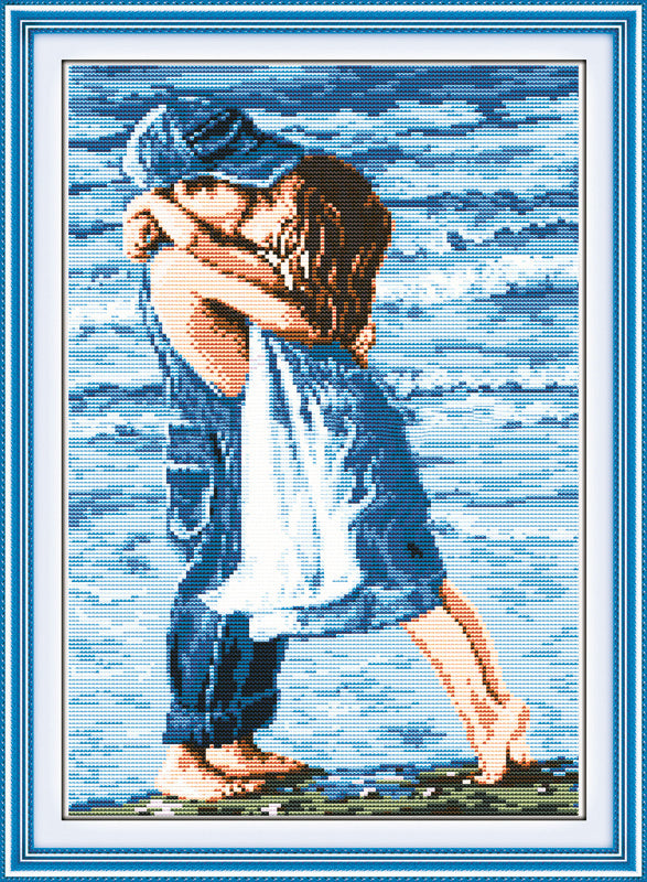 1Lovers on Seaside Cross Stitch Embroidery Kit