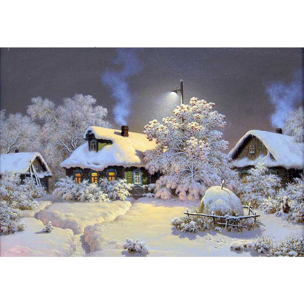 Diamond Embroidery Beautiful Snow Winter Landscape