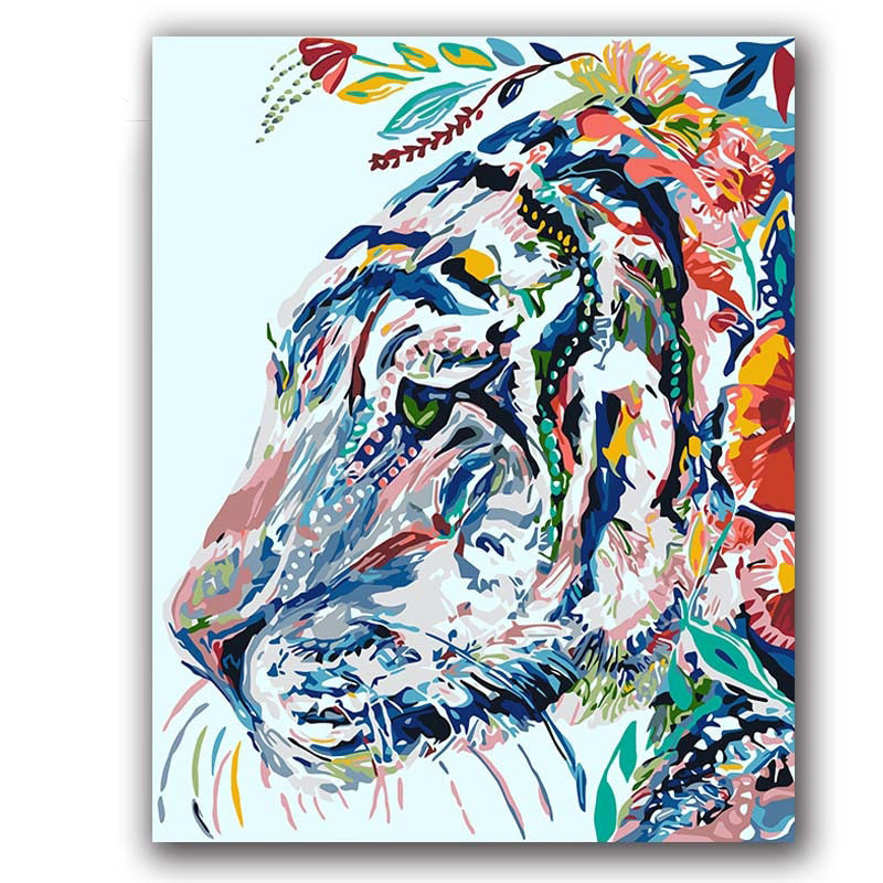 Colorful Tiger abstract Painting by Numbers