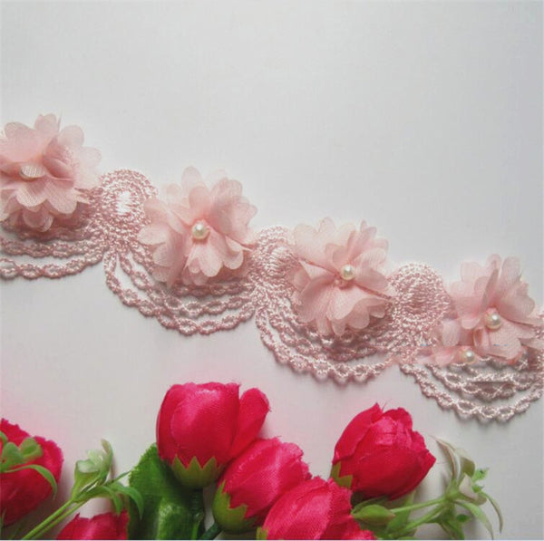 10x Pearl Chiffon Flower Embroidered Lace Edge Ribbon Floral