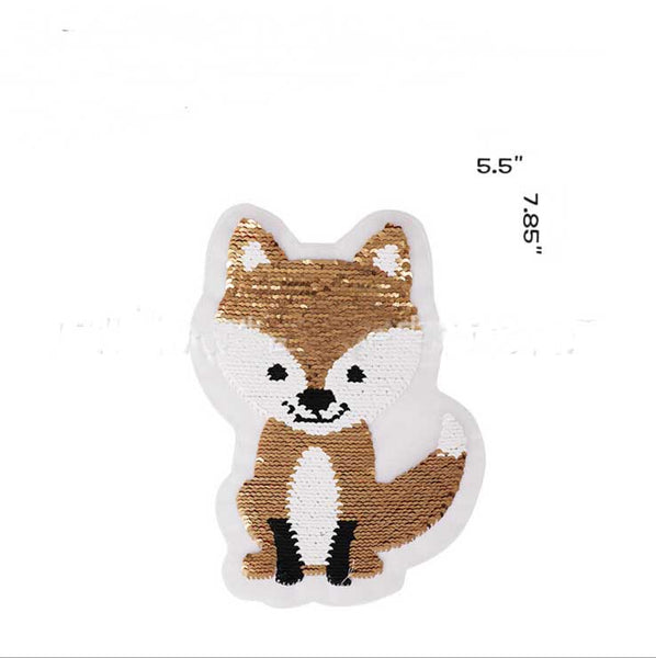 Cartoon Fox Reversible Change Color Sequins Sew On Patches