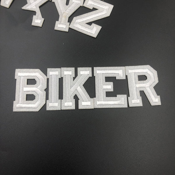 1PC White Letter Iron on Patches for Clothing Decorative