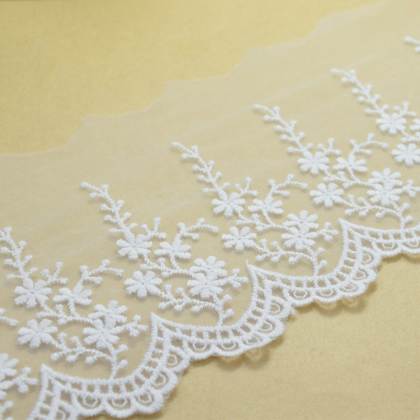 4 Inches Wide White Lace Cotton Embroid Sewing Ribbon