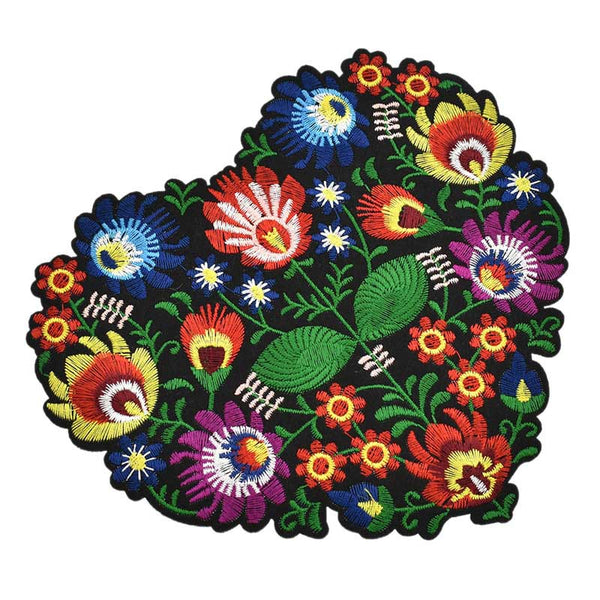 Heart Shape Flower Embroidery Applique Patches