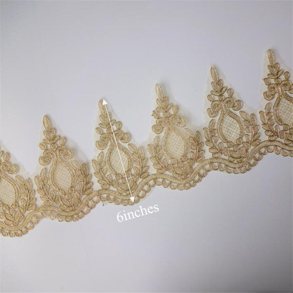 2Yd Light Gold Mesh Lace Trim Applique