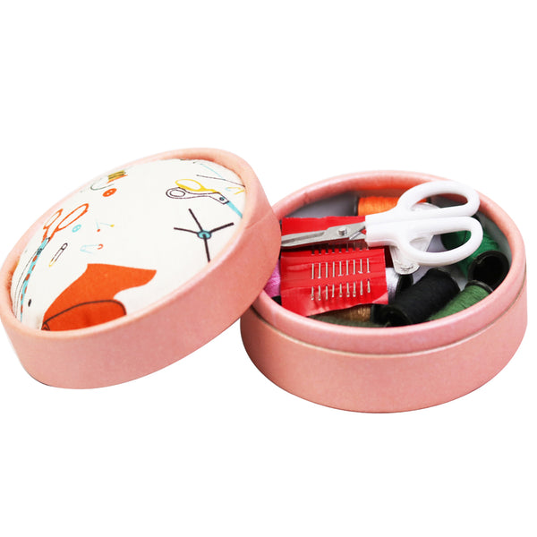 Cute Home Travel Sewing Kits Box w/ Fabric Pincushion