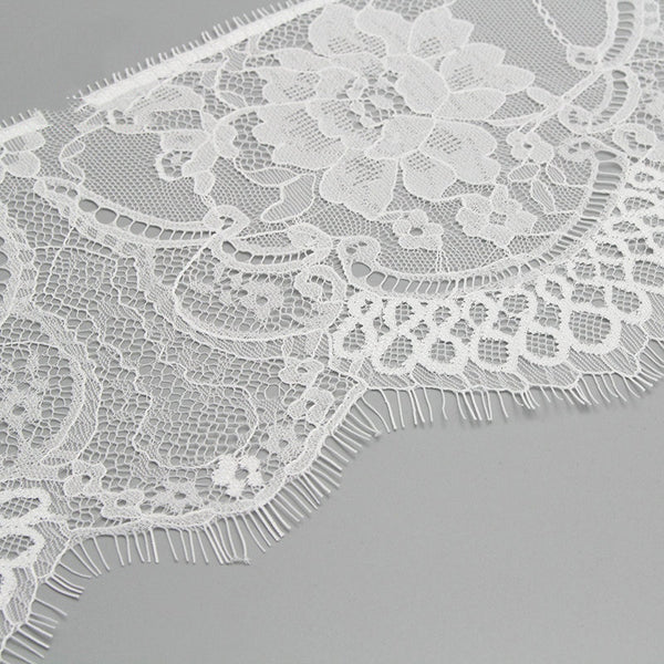 "3y 6"" White/black Embroidered Lace Fabric Trim Ribbon"