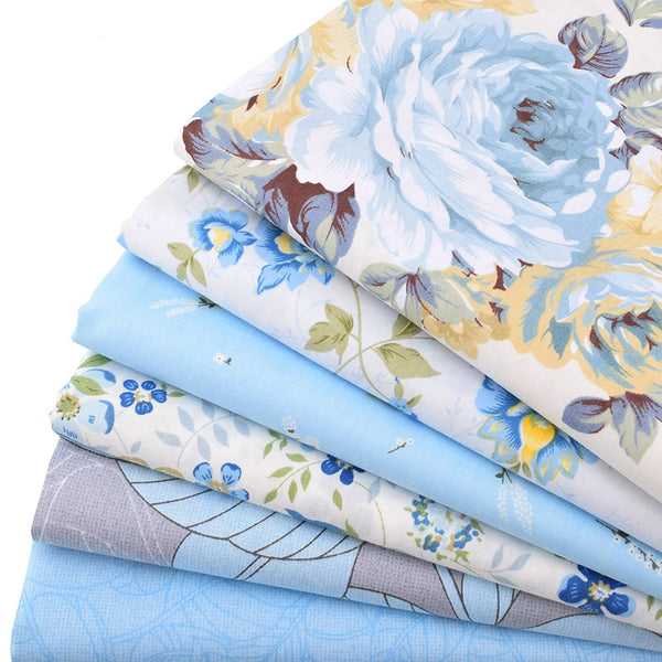 "6pcs Twill Cotton Fabric (16"" x 20"") New Blue Floral Series"