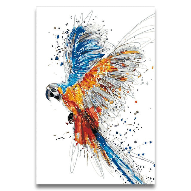 Painting by Numbers Watercolor Animals Parrot Picture