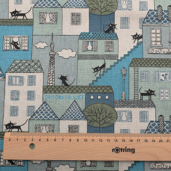"Cotton Linen Fabric (20"" x 59"") Building Cat Design"
