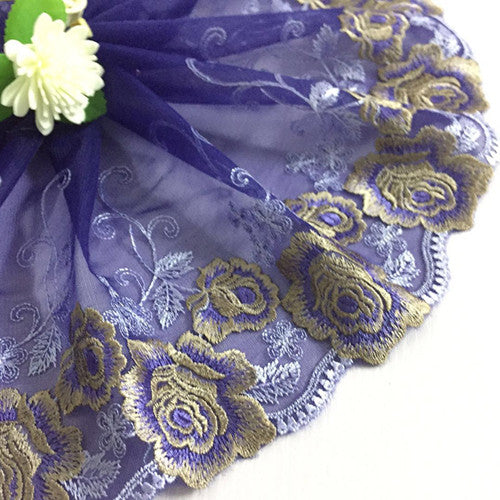 2Yards African Lace Fabric Flower Embroidered