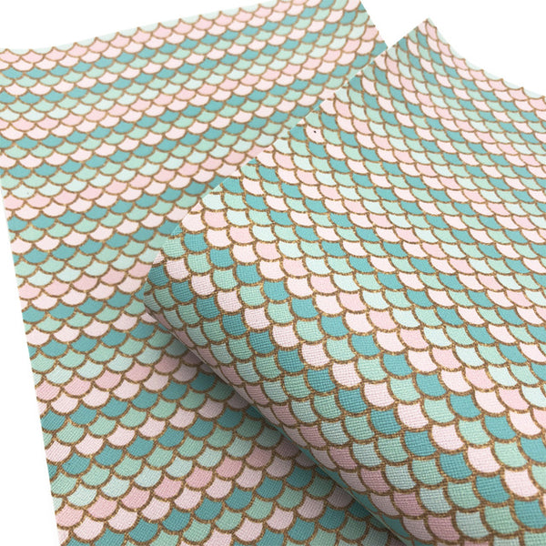 "Leather Fabric (8"" x 13"") Fish Scales Vinyl Faux Artificial Synthetic"