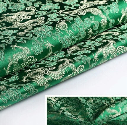 "CHINESE BROCADE FABRIC (30"" x 20"") DRAGON DESIGN"